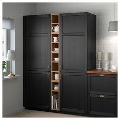 IKEA - VADHOLMA Open storage brown, stained ash good for gaps in cabinetry Diy Kitchen Storage, Kitchen Cabinet Organization, Kitchen Pantry, Tall Cabinet Storage, Locker Storage, Kitchen Decor, Kitchen Island, Ikea Kitchen Storage Cabinets, Ikea Pantry