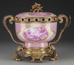 Ceramics & Porcelain, Continental:Antique (Pre 1900), A SEVRES PORCELAIN COVERED ECUELLE WITH GILT BRONZE MOUNTS... Image #1