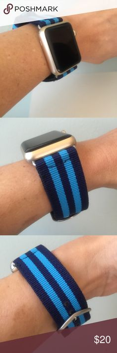 Dark Blue with light blue stripes Apple Watch band Dark Blue with light blue stripes Apple Watch band with silver hardware ⌚️  High quality canvas nylon band.  It comes with 38mm or 42mm adapters. Please select your size when you purchase. The adapters fit the Apple Watch I, 2 & Sport.   I have other band colors, hardware colors and styles in my closet. Check them out!   I offer 15% off if you buy two or more! Please add BOTH items to the bundle for the discount to automatically apply…