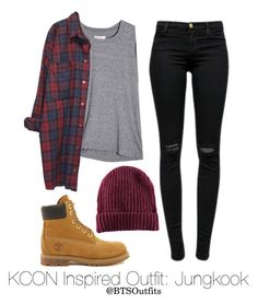 """Inspired Outfit for KCON: Jungkook"" by btsoutfits ❤ liked on Polyvore featuring J Brand, Timberland, H&M and Monki"