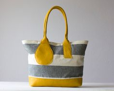 Kallisto bag in stripe canvas and Yellow leather by milloo on Etsy, $96.00