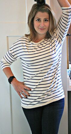 Stitch Fix Le Lis Alyana Crochet Trim Detail Knit Top. Love the stripes and crochet detail on this top!