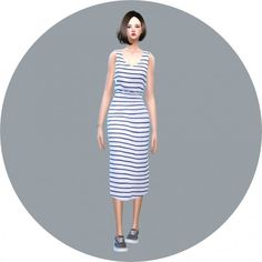 SIMS4 Marigold: Casual Sleeveless Dress • Sims 4 Downloads