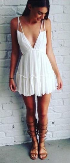 #summer #outfits Little White Dress + Brown Sandals