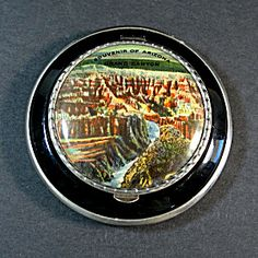 1930s Enameled Pictorial Grand Canyon Souvenir Powder Compact