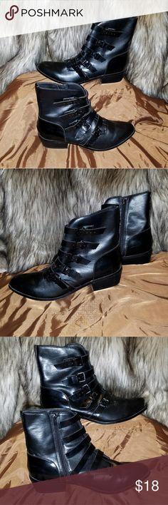 Forever21 Black Vegan Leather Ankle Boots NWOT Size 10 Zipper closure   Adjustable buckles 1 inch heel Vegan Leather Forever 21 Shoes Heeled Boots