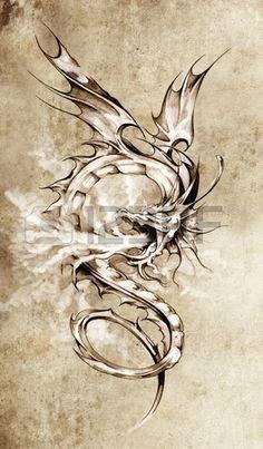 Skizze der Tattoo Kunst stilvolle Drachen Illustration Lizenzfreie Bilder