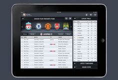 apple, design, ios, iPad, User Interface, inspiration, Football iPad App
