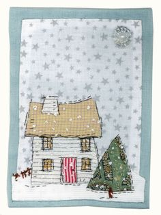 Beautiful wooden house and Christmas tree free motion machine embroidered mini quilt Sharon Blackman: Autumn inspirations. Freehand Machine Embroidery, Free Motion Embroidery, Free Machine Embroidery, Embroidery Applique, Fabric Cards, Fabric Postcards, Small Quilts, Mini Quilts, Sewing Art