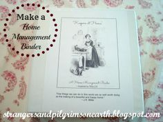 """Strangers & Pilgrims on Earth: """"Keepers at Home"""" ~ Home Management Binder Printable .Get ready for next year."""