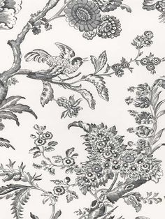 Jacquard Swallow Wallpaper | STROHEIM PROVENCE | AmericanBlinds.com