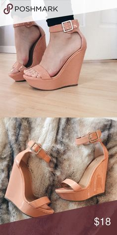 Peach/Blush Strappy Wedges Pink/Blush strappy platform wedges, excellent condition, worn twice. Shoes Wedges