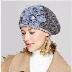 Unique flower beret hat for women warm wool hats winter wear