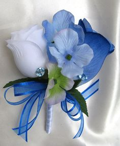 Wedding bouquet Bridal Silk flowers Cascade by Rosesanddreams Floral Bouquets, Wedding Bouquets, Wedding Flowers, Blue Bouquet, Groomsmen Boutonniere, Groom And Groomsmen, Blue Boutonniere, Our Wedding, Dream Wedding
