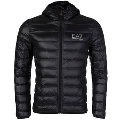 Emporio Armani EA7 Puffer Black hooded jacket For Mens