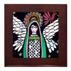 Virgin of Guadalupe Mexican Folk Art Ceramic Framed Tile by Heather Galler - Ready To Hang Tile Frame Gift