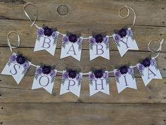 Personalized paper flower garland with purple flowers Baby | Etsy Paper Flower Garlands, Paper Flower Backdrop, Paper Flowers, Baby Shower Purple, Floral Banners, Baby Name Signs, Nursery Signs, Shades Of Purple, Flower Wall