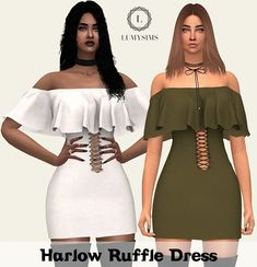 Harlow Ruffle Dress - The Sims 4 Catalog - Harlow Ruffle Dress – The Sims 4 Catalog Source by michellemultico - Sims 4 Cas, Sims Cc, Sims 4 Cc Eyes, Sims 4 Black Hair, The Sims 4 Cabelos, Pelo Sims, Sims 4 Game Mods, Sims 4 Gameplay, Sims4 Clothes