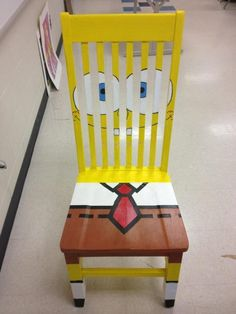 A fun little SpongeBob chair Hand Painted Chairs, Painted Stools, Hand Painted Furniture, Funny Furniture, Kids Furniture, Bedroom Wall Designs, Bedroom Vintage, Cool Chairs, Luxurious Bedrooms