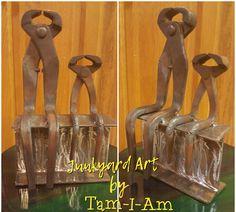 Scrap metal art - repurposed nippers into modern art