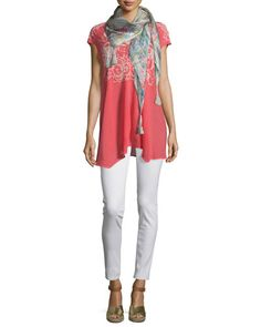 -6NDH Johnny Was  Marc V-Neck Embroidered Tunic