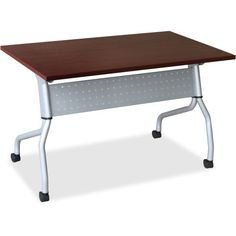 LLR60722 - Lorell Mahogany Flip Top Training Table