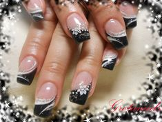 Fall spring winter summer black white and silver glitter fancy french flower nails
