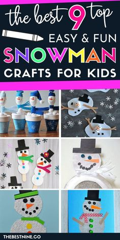Get the kids crafting to make your snow day or indoor weekend extra fun. These 9 best Snowman crafts for kids are the perfect way to make an inside day extra fun for young kids and preschoolers. Winter Crafts For Toddlers, Winter Activities For Kids, Craft Kits For Kids, Crafts For Kids To Make, Toddler Crafts, Preschool Crafts, Art For Kids, Winter Art Projects, Snowman Crafts