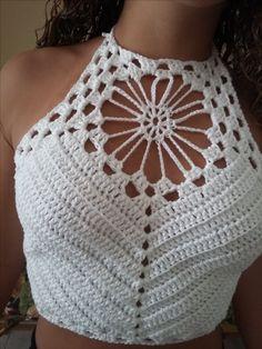 Fabulous Crochet a Little Black Crochet Dress Ideas. Georgeous Crochet a Little Black Crochet Dress Ideas. Crochet Bra, Crochet Halter Tops, Crochet Crop Top, Crochet Woman, Crochet Blouse, Crochet Clothes, Crochet Stitches, Sewing Clothes, Sewing Patterns