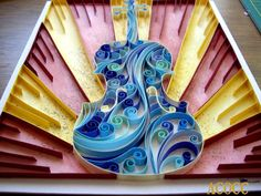 Epic Violin  Paper Quilling with Watercolour Wall Art 8 x by aCoCC