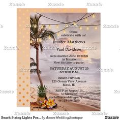 Beach String Lights Post Wedding Party Invitation A romantic post or after wedding party invitation featuring a tropical beach at sunset with string lights in palm trees and a pineapple with flowers. Great for a reception only or after-the-wedding celebration.