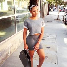 Gray 2-piece set Two piece set. Crop top. Mini skirt. Stretch. Casual cute Skirts Skirt Sets
