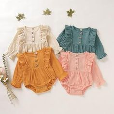 Baby Clothes - Baby Fashion Long Sleeve Romper Bodysuit Infant Newborn Baby Cute Ruffle Trim Pleated Romper Jumpsuit Baby Girl Boy Casual Loose Outfits Overall Clothes Baby Girl Fashion, Fashion Kids, Newborn Fashion, Baby Fashion Clothes, Toddler Fashion, Fashion Fall, Fashion Outfits, Fashion Design, Fashion Trends