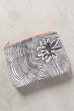 Samudra Rippled Floral Pouch #AnthroFave (do this art style with Mickey.)