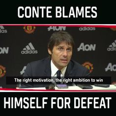 Antonio Conte holds his hands up after defeat to Manchester United.  Full video ➡️ es.pn/2pnaFtb