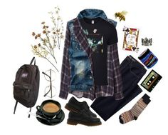 """""""Black Coffee Is For Creeps"""" by pixymae ❤ liked on Polyvore featuring Lands' End, Zara, Dr. Martens, Paul Smith, Manic Panic NYC, JanSport, Michele, Crate and Barrel, Pier 1 Imports and Fall"""