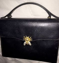 Treasured VTG Morris Moskowitz Quality Black Leather Bag has CRYSTAL BUG Clasp