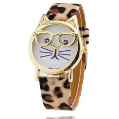 Studious kitty is studious! We love this fun cat wearing glasses watch and think you will love it too!  Available in 10 colors - beige, black, brown, mint green, pink, red, white, leopard, gray or hot pink. Water resistant made with stainless steel and glass watch face. Dial diameter 3.8cm Band Material Leatherette  Band Width 2cm Band Length 24cm PLEASE NOTE: THIS ITEM IS COMING FROM THE FAST EAST, SO SHIPPING TYPICALLY TAKES BETWEEN 15-26 DAYS TO THE U.S, CANADA, EUROPE, AUSTRALIA AND NEW…