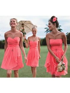 Short Coral Chiffon Wedding Guest Dresses Bridesmaid Dresses 99601119
