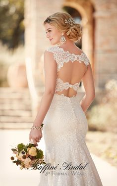 Essense of Australia #D2159 - Sheath lace gown with plunging illusion v-neckline and illusion lace straps that form the double key-hole low back.