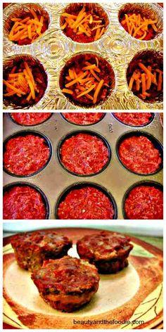 Grain free Cheese filled mini Meatloaf, beautyandthefoodie.com