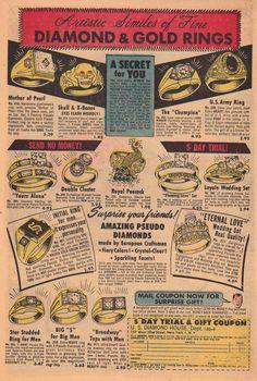 Mister Mystery Magazine- Jan 1953. 'Diamond & Gold Rings' Retro Recipes, Old Recipes, Vintage Recipes, Retro Advertising, Vintage Advertisements, Vintage Ads, Gold Diamond Rings, Gold Rings, Army Rings