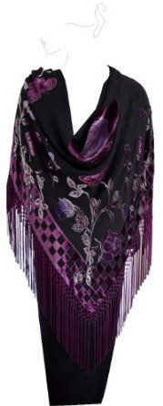 """JJcollection Burn-out Velvet Classic Square Shawl, 42""""x 42"""", With 8""""Net Tassel, Purple Wine Rose Flowers on Black Silk Sheer JJcollection. $69.00"""