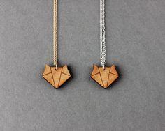 Origami en bois Fox collier - Bijoux faits main moderne