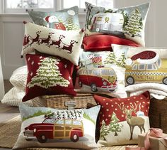 Awesome Christmas pillows from Pottery Barn! Especially love the VW van loaded up with presents! #decorations #home #holiday