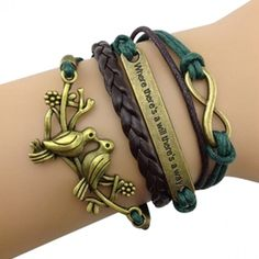Green and Brown Inspirational Arm Party Bracelet