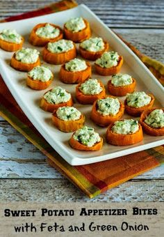 Sweet Potato Appetizer Bites with Feta and Green Onion- low carb and low fat recipe. Greek yogurt and feta cheese make a creamy filling without being packed with calories!