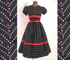 Vintage 50s Dress Full Skirt Polka Dot by LilBlackDressVintage, $65.00
