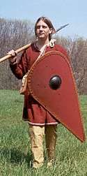 At the end of the Viking era, kite shields were used.  Their shape helped protect a fighter while riding on the back of a horse.