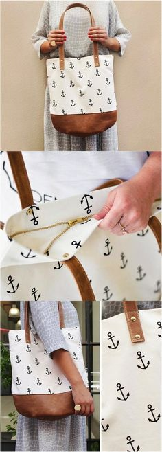 This tote bag is so cute for the summer. I love the anchors--they remind me of being at the beach! | Made on Hatch.co by independent makers & designers